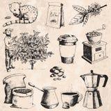Фасоли рудоразборки фермера продукции кофе нарисованные рукой на чертеже дерева и года сбора винограда выпивают ретро десерт эски Стоковая Фотография RF
