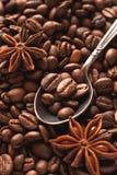 Фасоли Coffe в серебряной ложке с анисовкой звезды Стоковые Фото