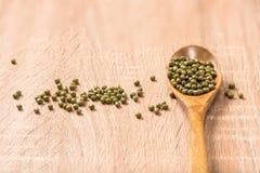 Фасоль зеленых цветов в ложке на деревянной таблице Стоковая Фотография