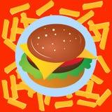 Фаст-фуд Cheeseburger вектор Значок фаст-фуда Стоковая Фотография RF