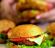 Фаст-фуд гамбургера с ветчиной на деревянной доске Гамбургер группы Стоковые Изображения