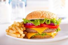 Фаст-фуд ест Фраи бургера и француза на плите Стоковая Фотография RF