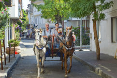 Фаэтон Buyukada, езда экипажа лошади кучера Стоковые Фотографии RF