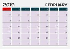 Февраль 2019 Шаблон дизайна плановика календаря иллюстрация штока