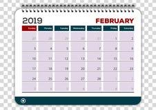 Февраль 2019 Шаблон дизайна плановика календаря бесплатная иллюстрация
