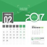 Февраль 2017 Календарь 2017 Стоковая Фотография