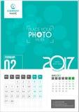 Февраль 2017 Календарь 2017 иллюстрация штока