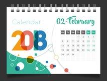 Февраль 2018 Настольный календарь 2018 иллюстрация штока