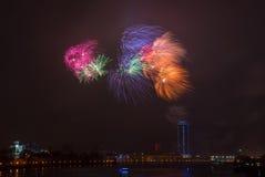 феиэрверки города сверх Стоковые Фото
