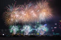 Феиэрверки на гавани Виктории Стоковое Фото