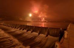 Феиэрверки на Новогодней ночи Стоковое Фото