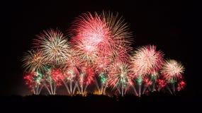 Феиэрверки на празднестве Carcassonne 14-ое июля 2012 Стоковые Фотографии RF