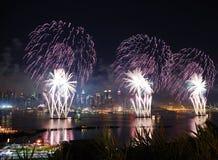 феиэрверки manhattan New York города Стоковые Изображения