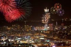 феиэрверки taipei города стоковая фотография rf