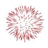 феиэрверк Красивый красный салют на белой предпосылке Яркое украшение фейерверка для рождественской открытки, счастливая новой иллюстрация вектора