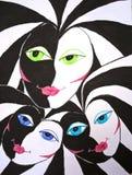 3 феи в Бело-черном мире Рисовать вручную бесплатная иллюстрация