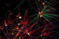Фейерверки в небе ночи Стоковое Изображение RF