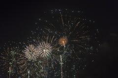 Фейерверки в ночном небе на празднике Стоковые Фотографии RF