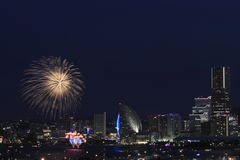 Фейерверки в фестивале порта Иокогама на Японии Стоковое Изображение