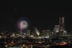 Фейерверки в фестивале порта Иокогама на Японии Стоковое Фото