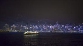 Фейерверки в Copacabana Стоковые Изображения RF