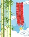 Фейерверки и бамбуковое дерево в небе Стоковое Фото
