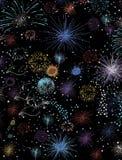 Фейерверки конструировали с реальным ярким блеском оживленную кнопку или значок покрашенной иллюстрации карандаша для вебсайта Стоковая Фотография