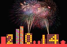 Фейерверки красочные и знамена 2014 Нового Года. Стоковое Изображение RF