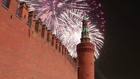 Фейерверки над Москвой Кремлем, Россией акции видеоматериалы