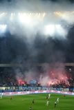 Фейерверки на арене футбола в Киеве Стоковые Изображения RF
