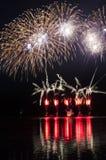 Фейерверки на воде Стоковое Изображение RF