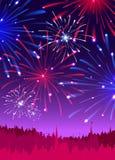 Фейерверки над городом ночи иллюстрация вектора