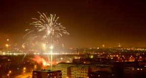 Фейерверки над городом Bialystok стоковая фотография