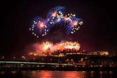 Фейерверки на замке Стоковая Фотография RF