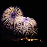 Фейерверки над замком II Spilberk Стоковая Фотография