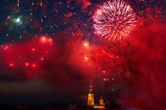 Фейерверки над крепостью Питера и Пола, Санкт-Петербургом, Россией Стоковая Фотография RF