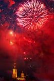 Фейерверки над крепостью Питера и Пола, Санкт-Петербургом, Россией Стоковые Фото