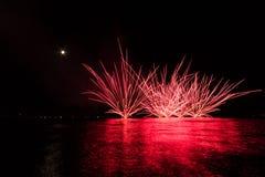 Фейерверки на море Стоковое фото RF
