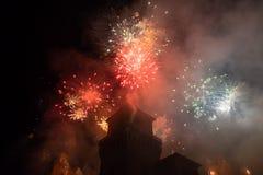 Фейерверки на Новогодняя ночь в Ферраре Стоковые Фотографии RF