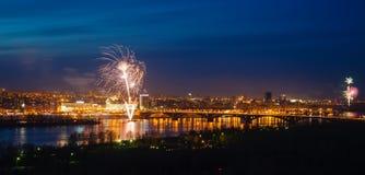 Фейерверки над рекой Стоковое фото RF
