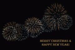 Фейерверки на темной ` предпосылки и ` текста с Рождеством Христовым & счастливом Нового Года Стоковые Фото