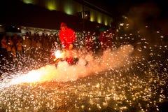 Фейерверки, огонь и дым стоковые изображения rf