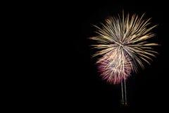 Фейерверки освещают вверх небо с ослеплять дисплеем стоковые изображения
