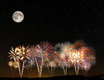 Фейерверки под небом Стоковое Изображение