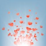 Фейерверки сердец на голубой предпосылке, Стоковые Изображения