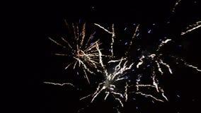 Фейерверки торжества Нового Года красочные Фейерверк накалять, пестротканых и искры на небе к ночь Фейерверки показывают в видеоматериал