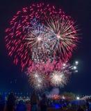 Фейерверки, фиеста воздушного шара Альбукерке стоковая фотография