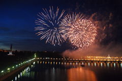 Фейерверки Чебоксар 2015 фестиваля Стоковое фото RF