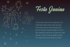 фейерверки Festa Junina Рук-чертежа на nighttime Стоковое Изображение RF