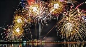 Фейерверки Lake Biwa Стоковые Изображения RF